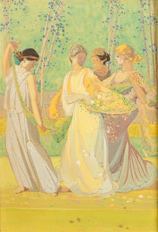 * Percy Albee, (American, 1883-1954), Flower Bearers - Scheme of Feast Before Athens, 1914