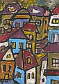 Attributed to Miklos Nemeth, (Hungarian, b. 1934), Abstract City View, Miklos Nemeth, Click for value