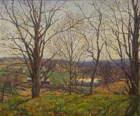 * Wilson Henry Irvine, (American, 1869-1936), Tress in the Green Grass