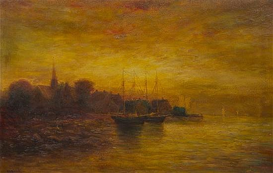 Hudson Mindell Kitchell, (American, 1862-1944), Ships at Dock