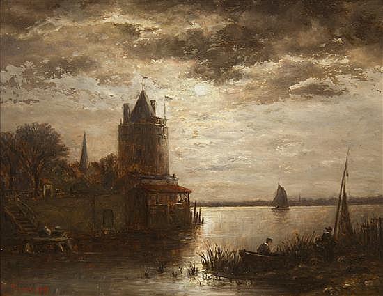 * Charles Tredupp, (American, 19th century), Hazy Moonlight