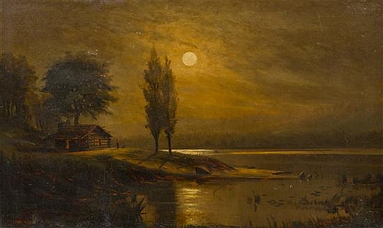 * J. Frank Waldo, (American, 1835-1920), The Cabin on a Moonlit Night