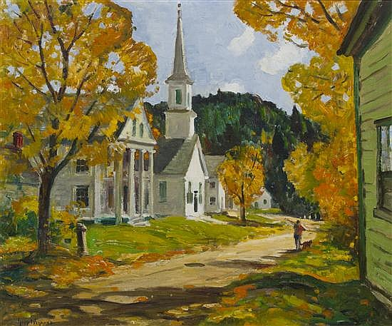 Guy Wiggins, (American, 1883-1962), Autumn Days, Village of West Dover, Vermont