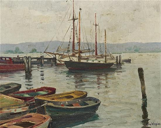 Guy Wiggins, (American, 1883-1962), Grey Weather on the Connecticut River