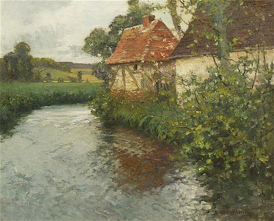 George Ames Aldrich, (American, 1872-1941), Brittany Landscape with Stream and Stone Cottages