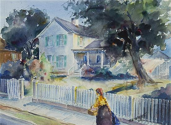James Milton Sessions, (American, 1882-1962), White Picket Fence, 1952
