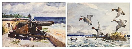 John Whorf, (American, 1903-1959), Man with Cannon and Ducks in Flight (double sided)