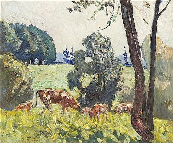 Hayley Lever, (American, 1876-1958), Cows at Hamden, N.J., 1934