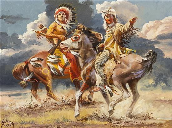 Harry Schaare, (American, 1922-2008), Pony Soldiers Come, 1993