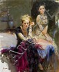 Guiseppe D'angelico Pino (Pino Daeni), (American, 1939-2010), Two Women, Giuseppe Pino, Click for value