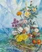 David Davidovich Burliuk, (American/Ukrainian, 1882-1967), Flowers in Abstract