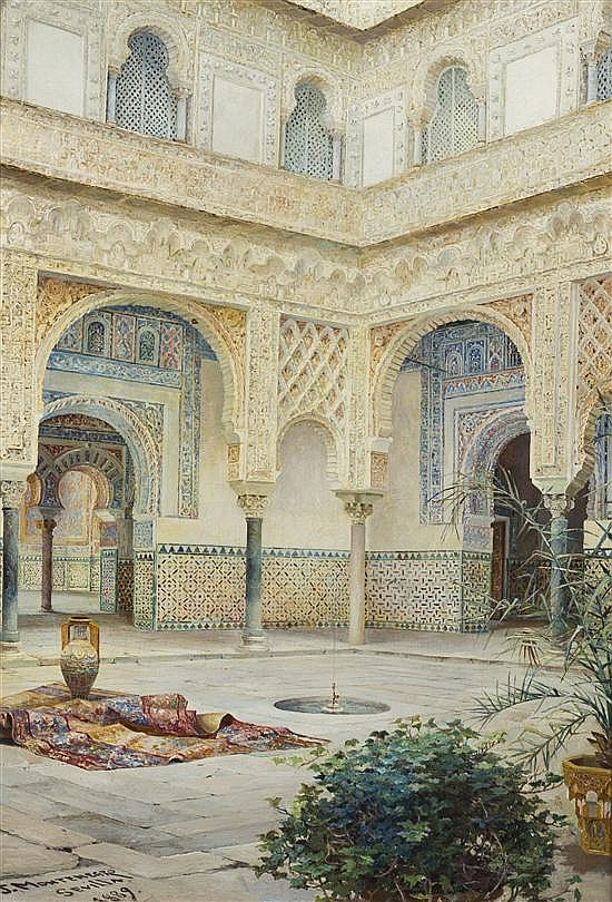 Jose Montenegro Cappell, (Spanish, 1855-1924), Alcazar de Seville, 1889