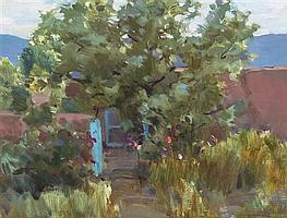 Rulon Hacking, (American, b. 1950), Russian Olive and Hollyhocks, 1991