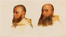 Paul Delaroche, (French, 1797-1856), Deux études de têtes de moines camaldules