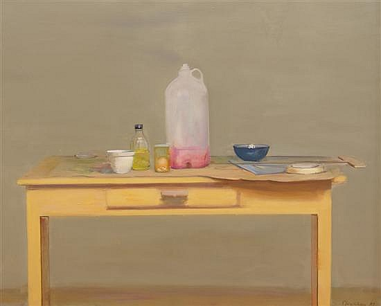 Rodrigo Moynihan, (British, 1910-1990), Large Containers, Bottles and Dish, 1981
