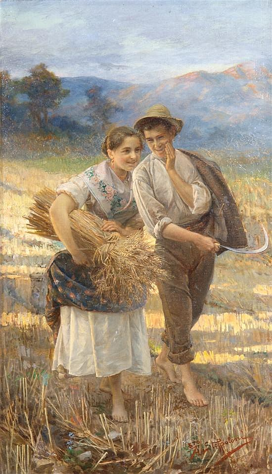 Augusto Guglielmo Stoppoloni, (Italian, 1855-1910), Boy and Girl in Field
