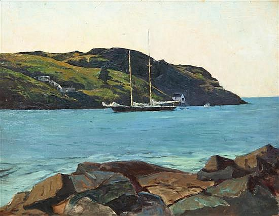 *George G. Adomeit, (American, 1879-1967), Schooner, Monhegan, ca. 1935-1945