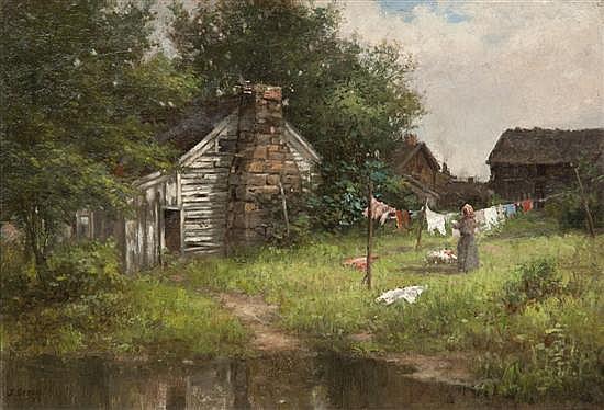 *John Semon, (American, 1852-1917), Hanging Out the Wash, 1885