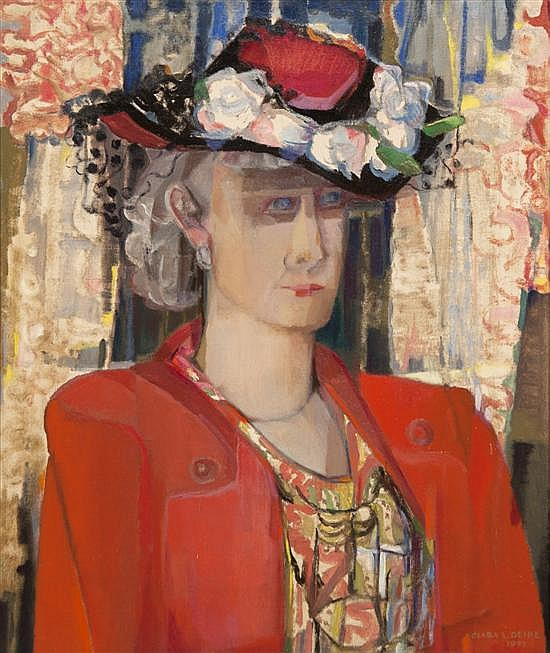 *Clara L. Deike, (American, 1887-1964), Woman in a Red Suit and Flowered Hat, 1951