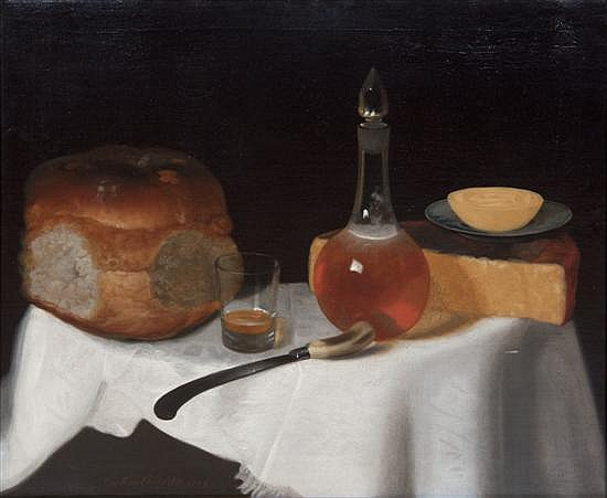 *George Smith of Chichester, (British, 1714-1776), Still Life of Bread and Cheese with a Glass, 1754