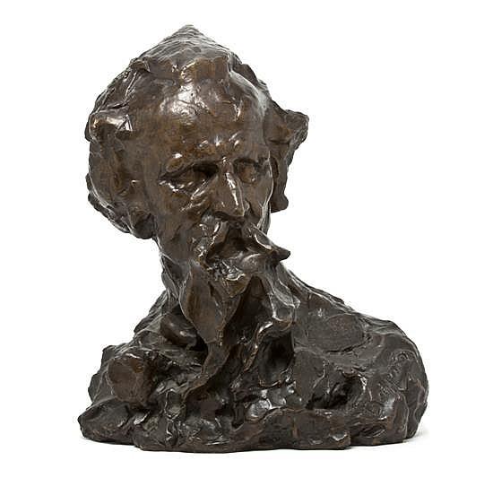 *An Italian Bronze Bust, Ernesto Bazzaro (1859-1937), Height 19 1/2 inches.
