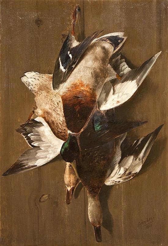 *Adam Lehr, (American, 1853-1924), Still Life with Ducks, 1880