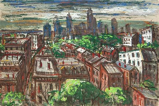 *Peter Paul Dubaniewicz, (American, 1913-2003), Top View Cincinnati, 1947
