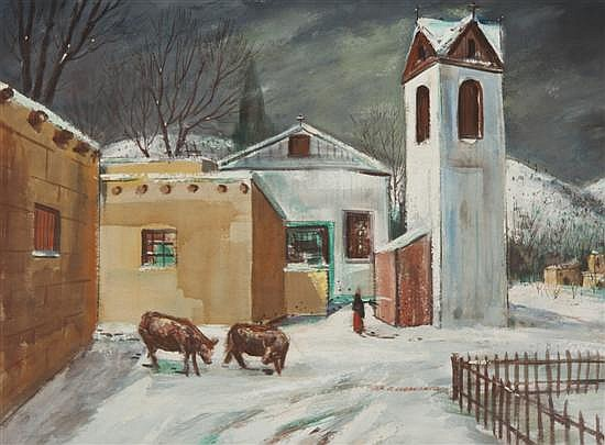 *Peter Paul Dubaniewicz, (American, 1913-2003), New Mexican Church