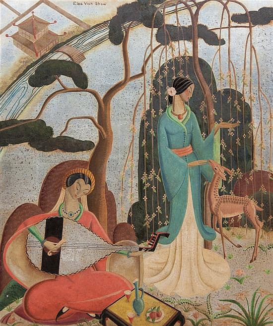 *Elsa Vick Shaw, (American, 1891-1974), Ladies in a Garden