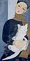 Junichiro Sekino, (Japanese, 1914-1988), Woman Holding a Cat, Jun-ichirô Sekino, Click for value
