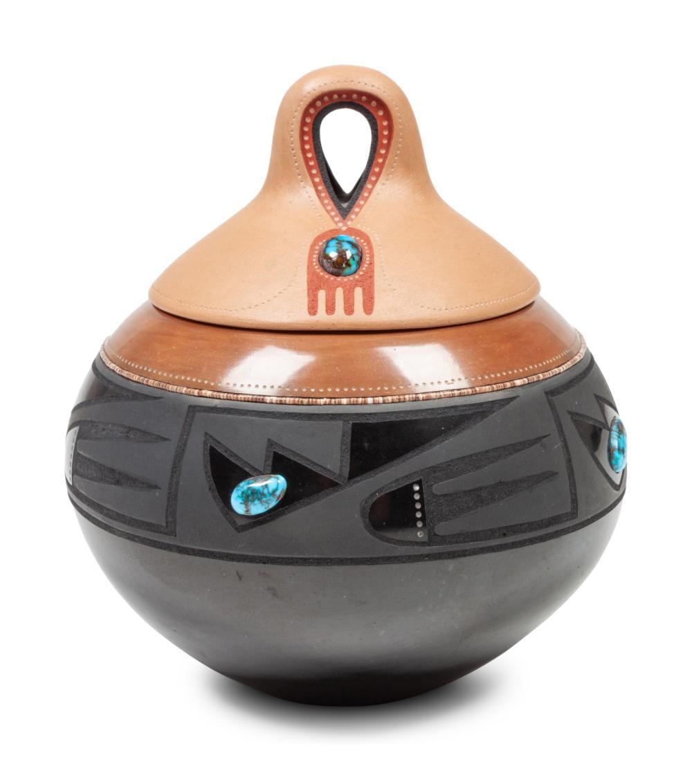 Tony Da (San Ildefonso, 1940-2008) Black and Sienna Lidded Jar, with Turquoise Cabochons
