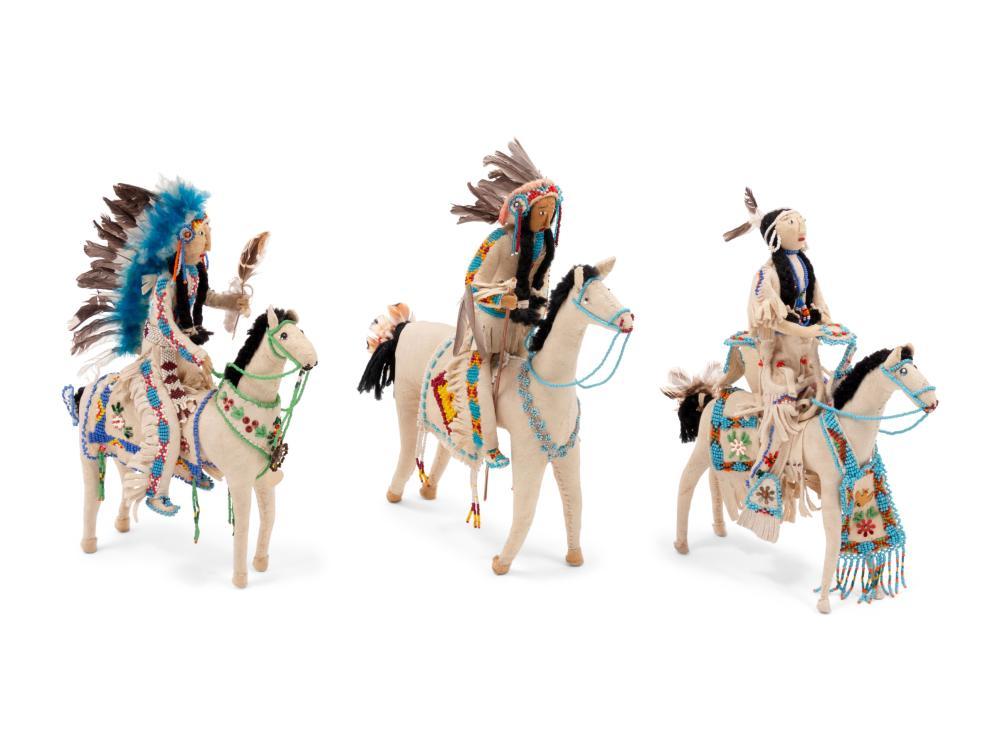 Plateau Beaded Hide Dolls, on Horseback