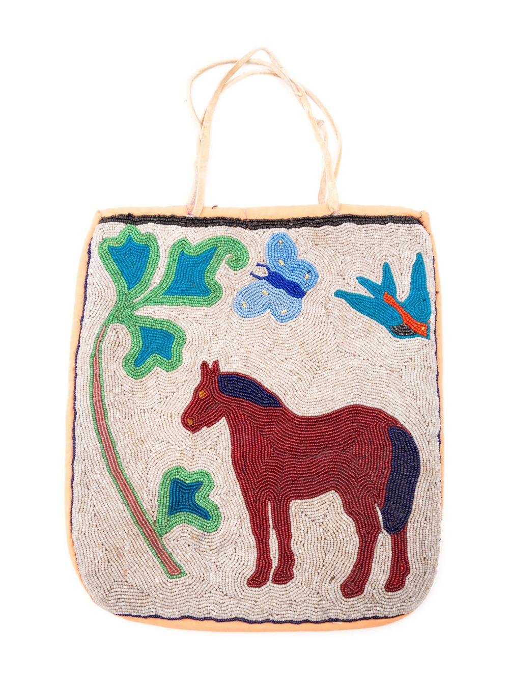 Plateau Pictorial Flat Bag, with Contour Beadwork