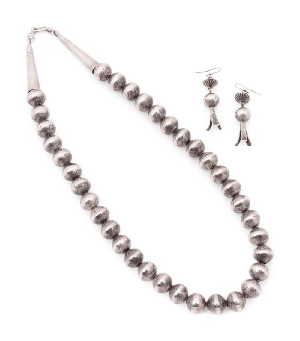Navajo Mercury Dime Necklace, and Squash Blossom Hook Earrings