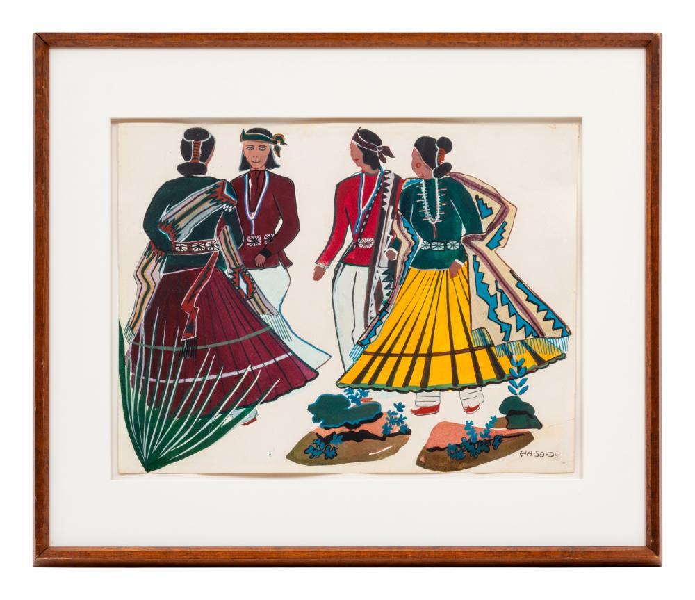 Narciso Platero Abeyta, Ha-So-De (Dine, 1918-1998) untitled, dancers