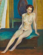 Guy Pene Du Bois Seated Female Nude Oil Painting