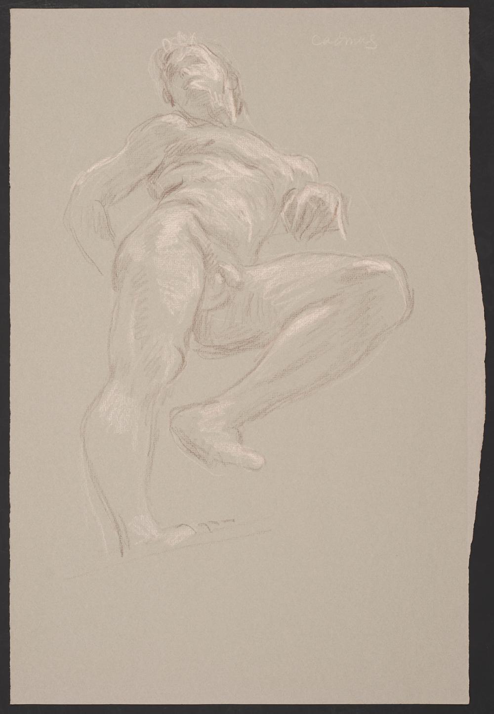 Paul Cadmus Male Nude Crayon on Paper