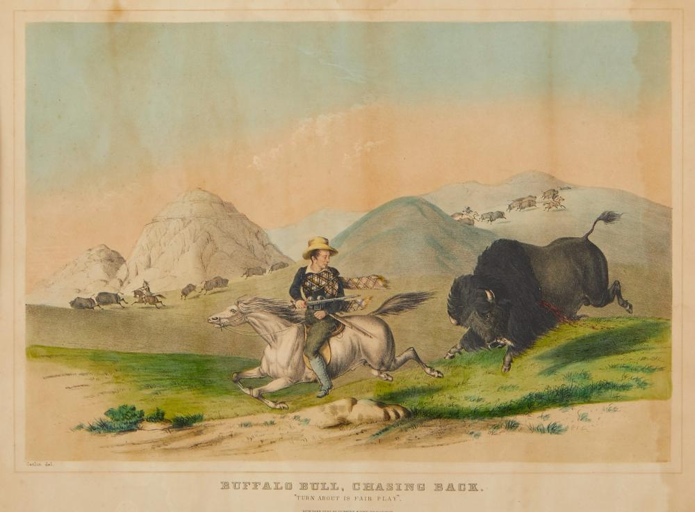 George Catlin Currier & Ives Lithograph with Watercolor