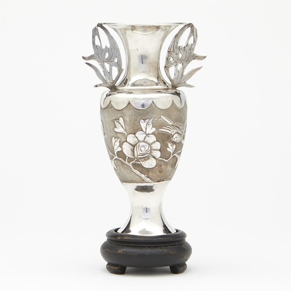 Chinese Silver Vase with Birds and Flowers