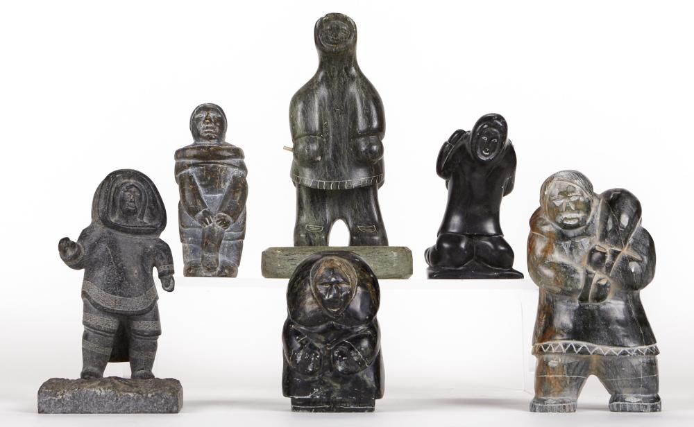 Group of 6 Inuit Soapstone Sculptures Figures