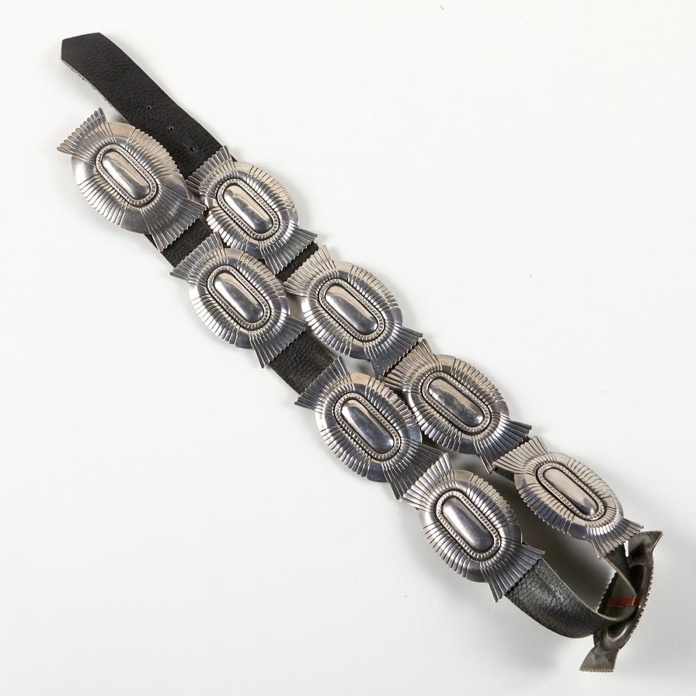 Southwester Sterling Silver Concho Belt