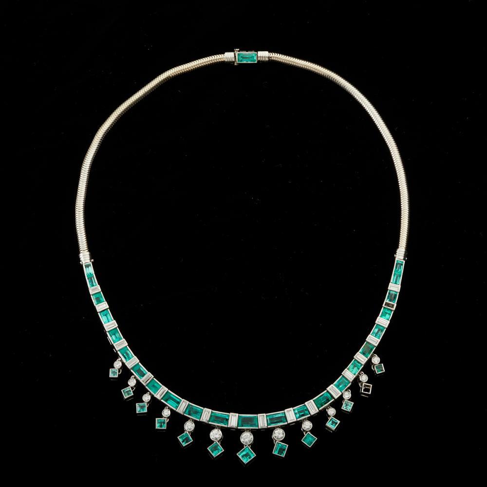 Women's Platinum 14K White Gold Emerald & Diamond Necklace