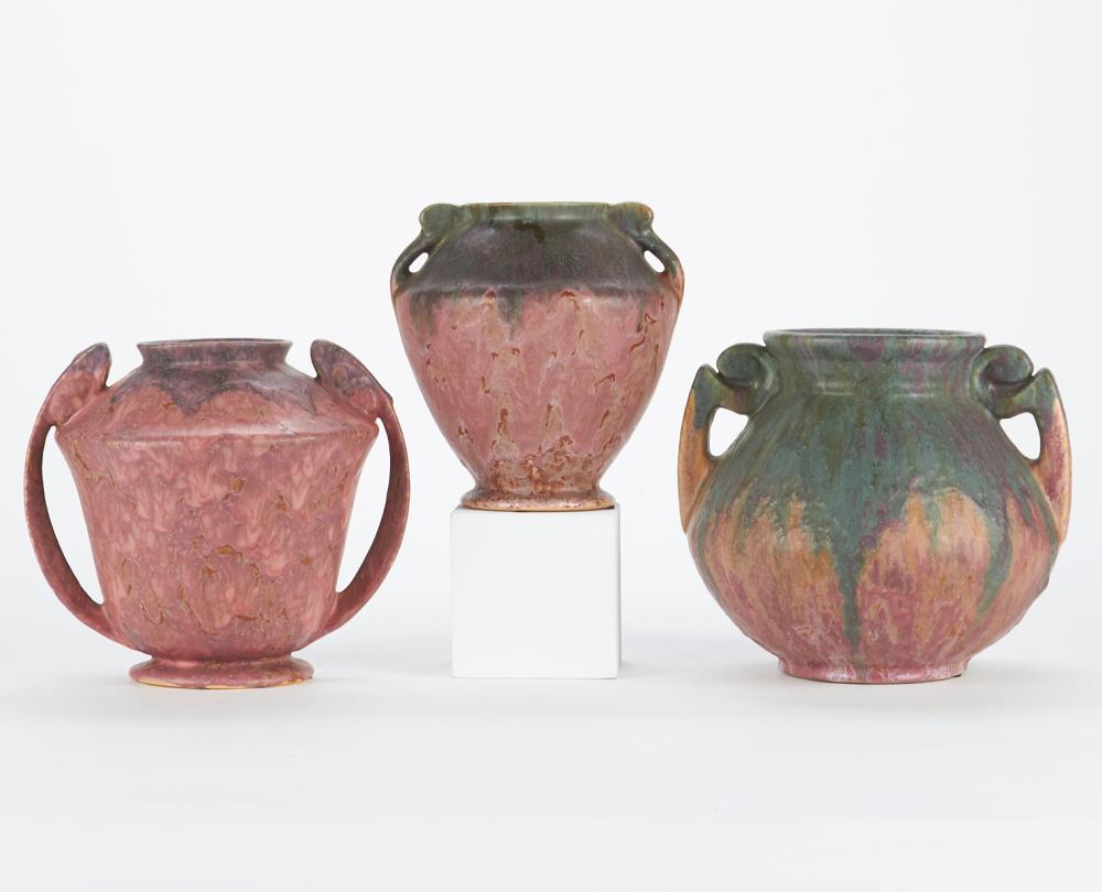 Grp: 3 Roseville Carnelian Pottery Vases