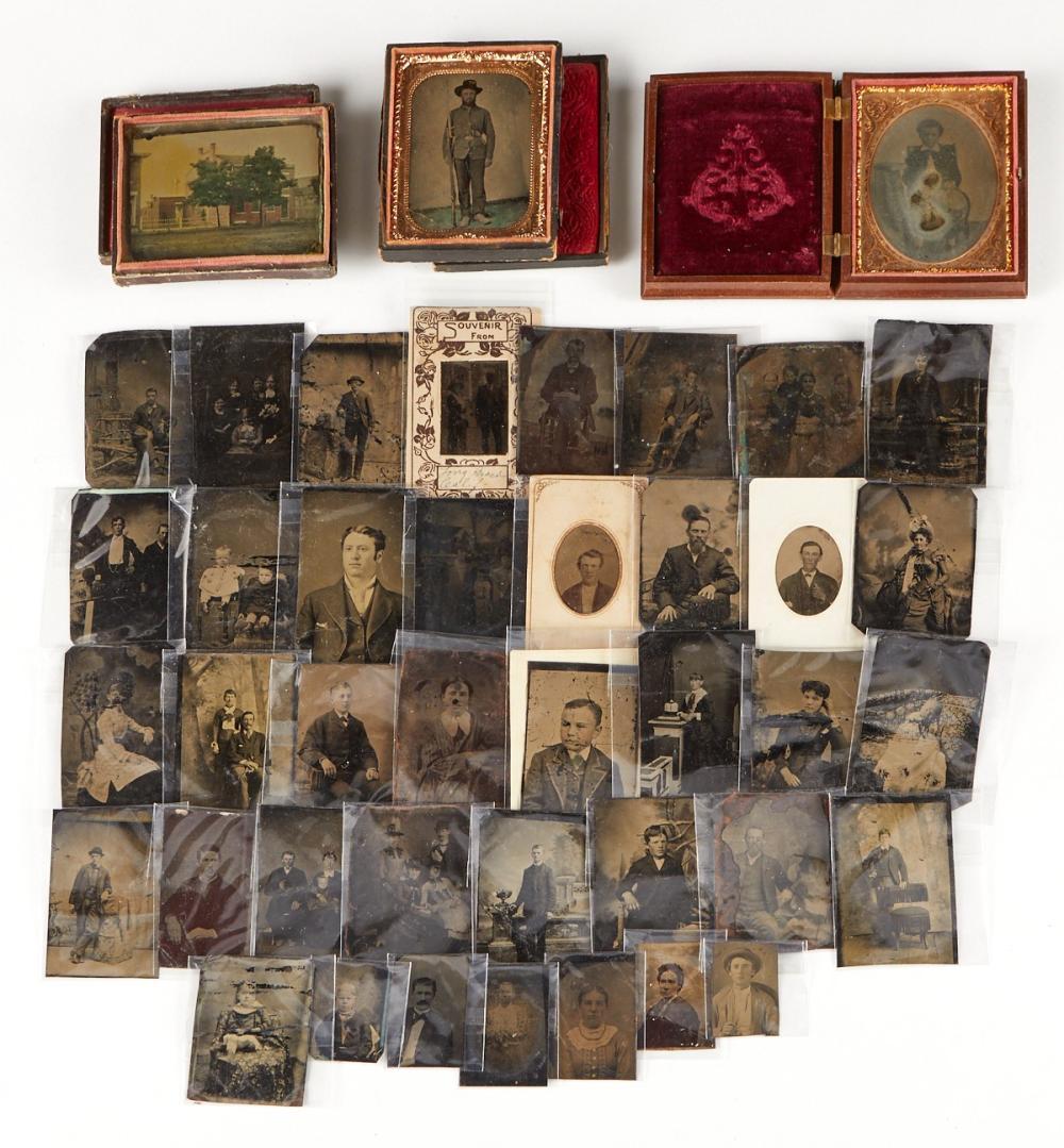 Large Group of Tin Types - Civil War