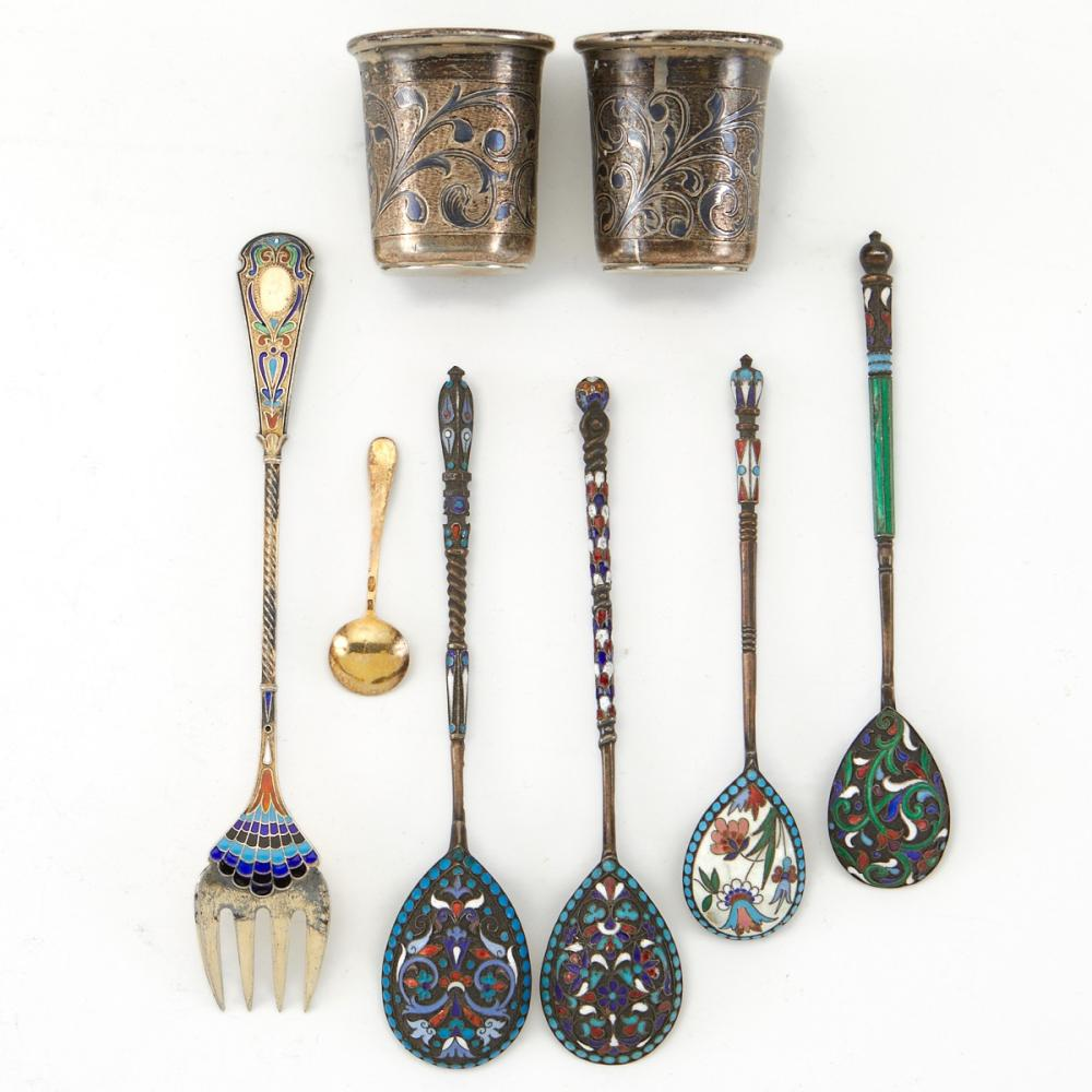 Grp: 9 Russian Enameled Silver Flatware and Cups