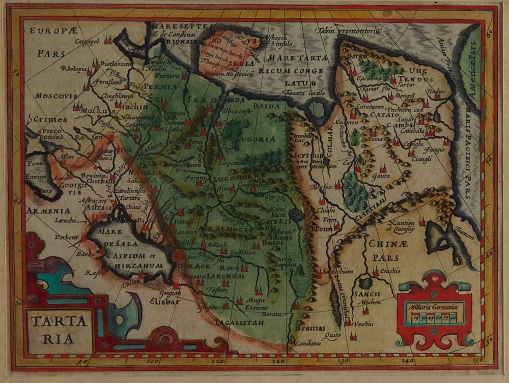 Mercator and Hondius Map of Northern Asia Tartaria 1613