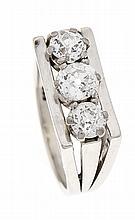 Altschliff-Diamant-Ring WG 585/000 mit 3 Altschliff-Diamanten, zus. 0,75 ct W/SI, RG 54, 6,8 g