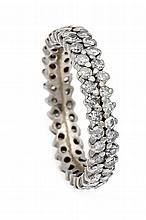 Brillant-Ring WG 585/000 mit 66 Diamanten, zus. 1,0 ct W/P1, RG 57, 4,6 g