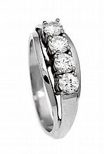 Brillant-Ring GG 585/000 mit 4 Brillanten, zus. 0,93 ct TW/lupenrein, RG 58, 6,3 g