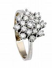 Brillant-Ring WG 585/000 mit 17 Brillanten, zus. 1,0 ct TW/VVS, RG 59, 3,7 g